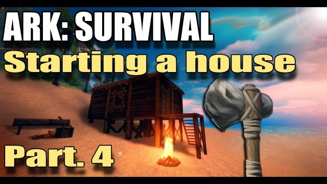 Part .4 - Building a house-  ARK ON MOBILE!  (ark survival island evolve)